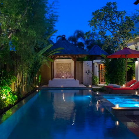 Villa Kalimaya IV - Bale and Pool at Night - Seminyak, Bali