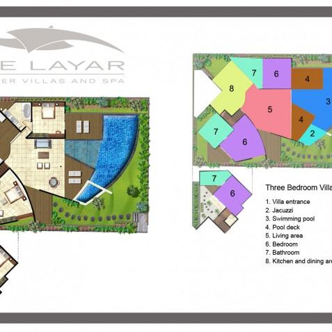 The Layar - 3 Bedroom Villa - Floor Plan - Seminyak, Bali