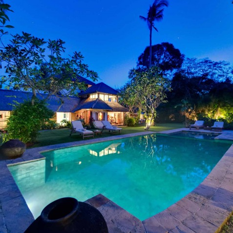The Orchard House - Pool and Villa at Dusk - Seminyak, Bali