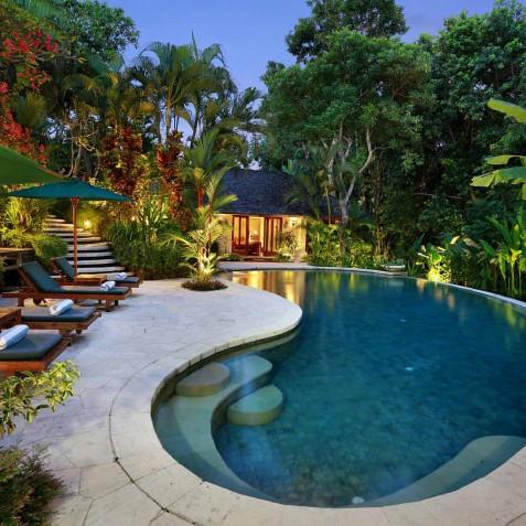 Villa Bunga Wangi Bali - Pool at Dusk - Canggu, Bali
