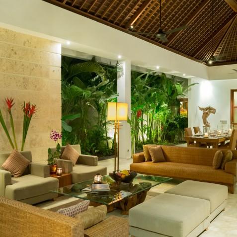 Villa Casa Brio - Living Area at Night - Seminyak, Bali