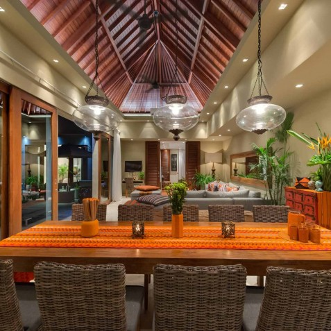 Villa Eshara III - Dining Area at Night - Seminyak, Bali