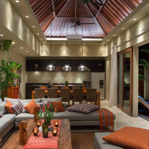 Villa Eshara III - Living Area at Night - Seminyak, Bali