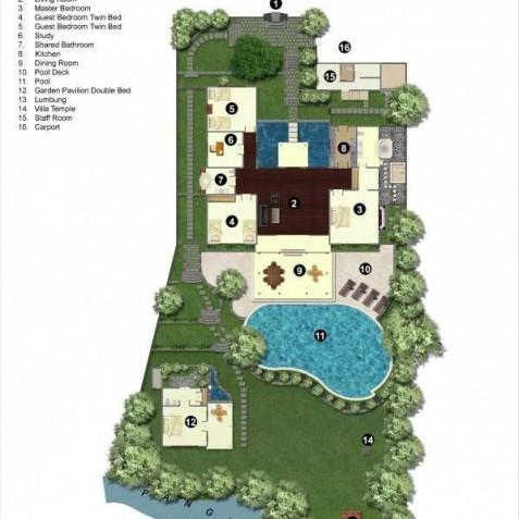 Villa Frangipani Bali - Floor Plan - Canggu, Bali