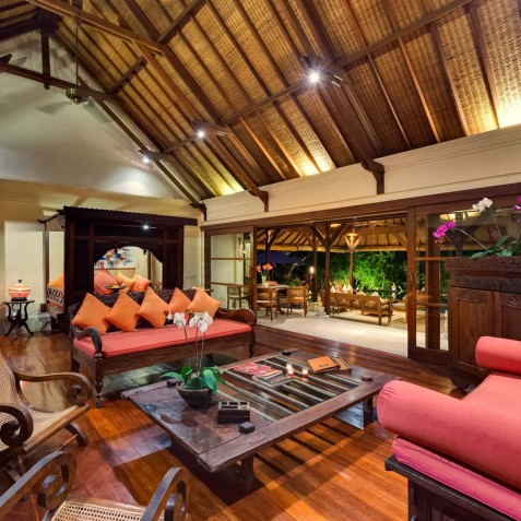 Villa Frangipani Bali - Lounge at Night - Canggu, Bali
