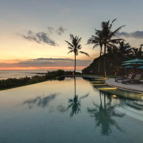 Villa Jagaditha Bali - Sunset over Pool and Ocean - Canggu, Bali