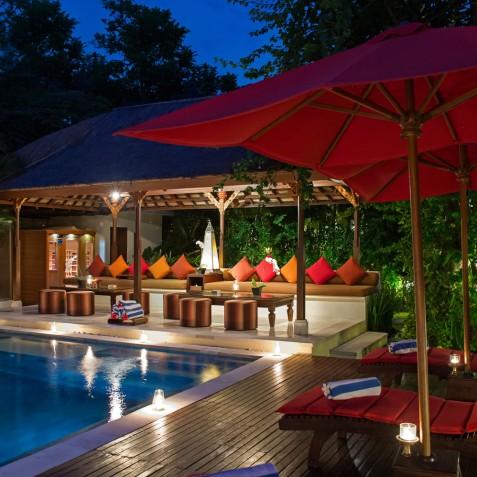 Villa Kalimaya I - Lounge Pavilion at Night - Seminyak, Bali