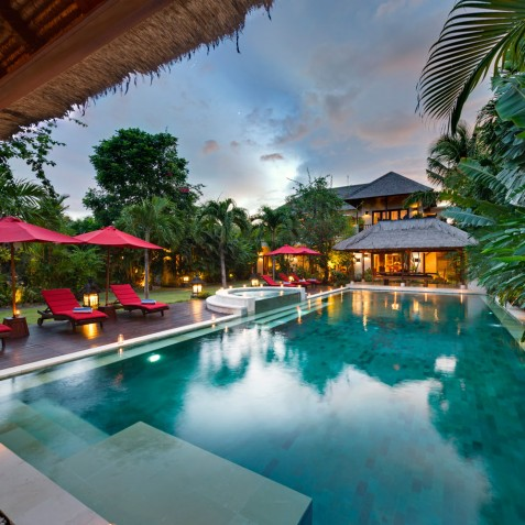 Villa Kalimaya I - Overview at Sunset - Seminyak, Bali