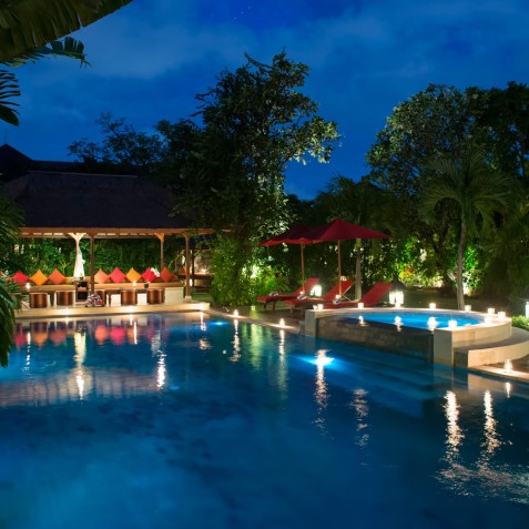 Villa Kalimaya I - Pool View at Night - Seminyak, Bali