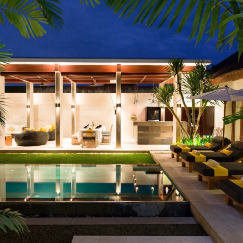Villa Lilibel Bali - Poolside at Night