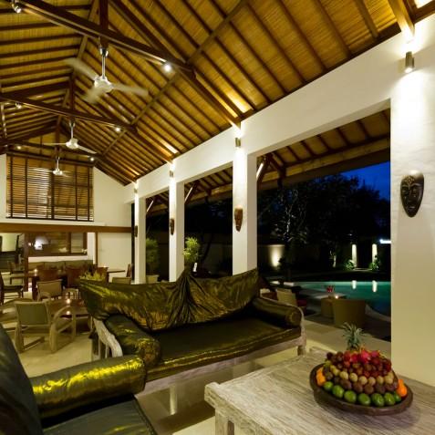 Villa Maharaj - Living Area at Night - Seminyak, Bali