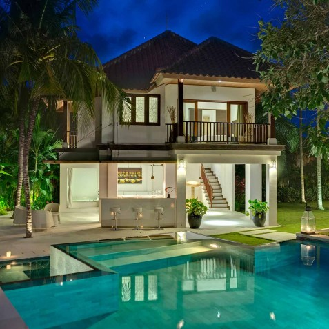 Villa Manis Bali - Pool House at Night - Canggu, Bali