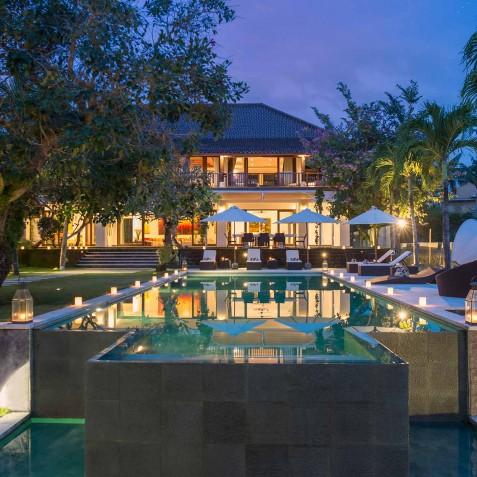 Villa Manis Bali - Main Villa Pavilion at Night - Seminyak, Bali