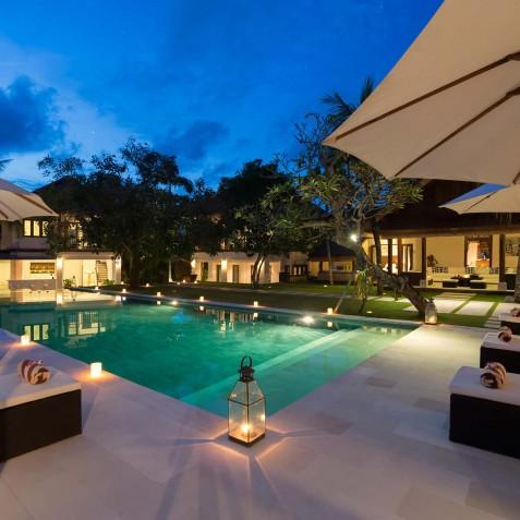 Villa Manis Bali - Poolside at Night - Canggu, Bali
