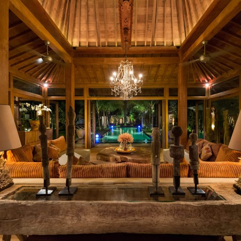 Villa Shambala - Living Area at Night - Seminyak, Bali
