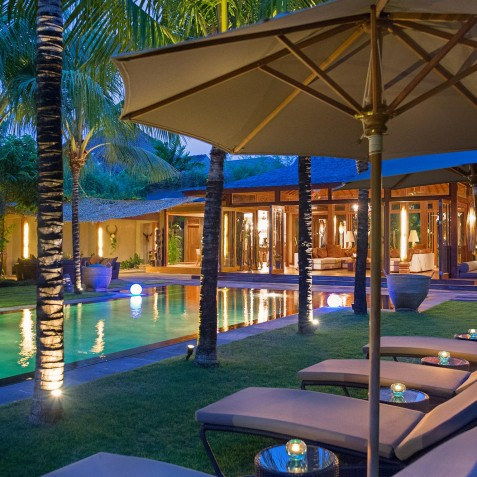 Villa Shambala - Pool Loungers at Night - Seminyak, Bali