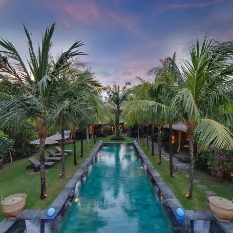 Villa Shambala - Pool and Garden at Dusk - Seminyak, Bali