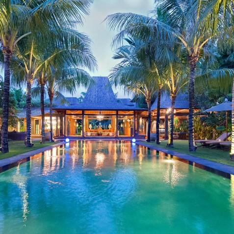 Villa Shambala - Poolside at Night - Seminyak, Bali
