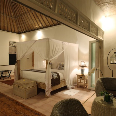 Villa Shamballa Moon, Ubud, Bali - Bedroom in Evening