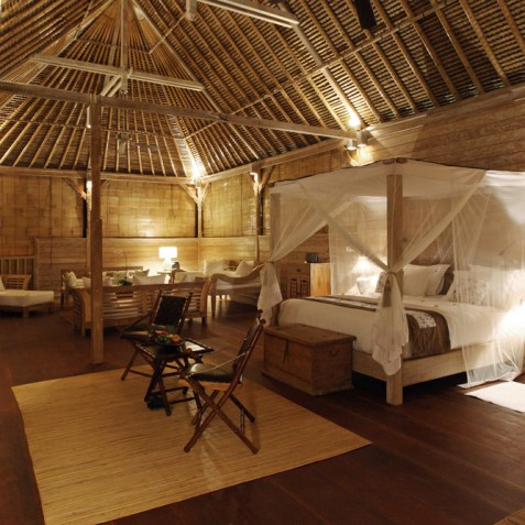 Villa Shamballa Residence, Ubud, Bali - Bedroom Interior at Night