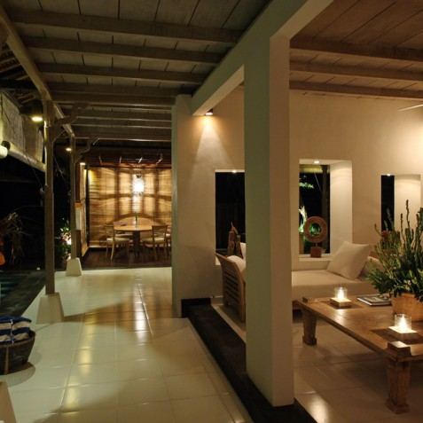 Villa Shamballa Ubud Bali - Living Area at Night