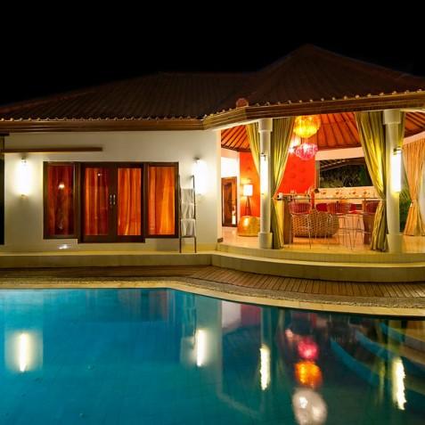 Villa Sun - 4S Villas - Pool and Villa at Night - Seminyak, Bali