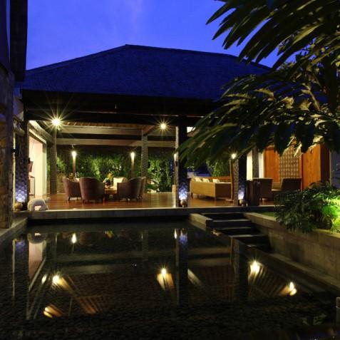 Villa Swarapadi, Ubud, Bali - Living Area in Evening