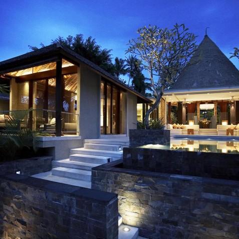 Villa Tukad Pangi - Villa at Dusk - Canggu, Bali