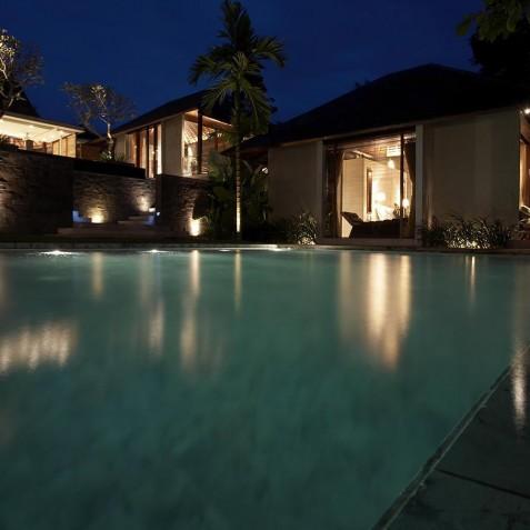 Villa Tukad Pangi - Pool at Night - Canggu, Bali