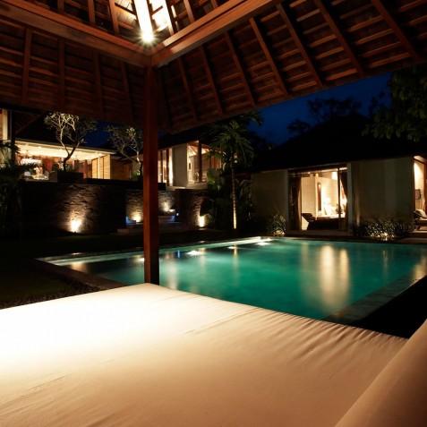 Villa Tukad Pangi - Pool Bale at Night - Canggu, Bali