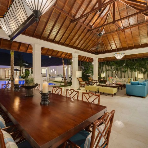 Villa Windu Asri - Dining and Living Area at Night - Seminyak, Bali