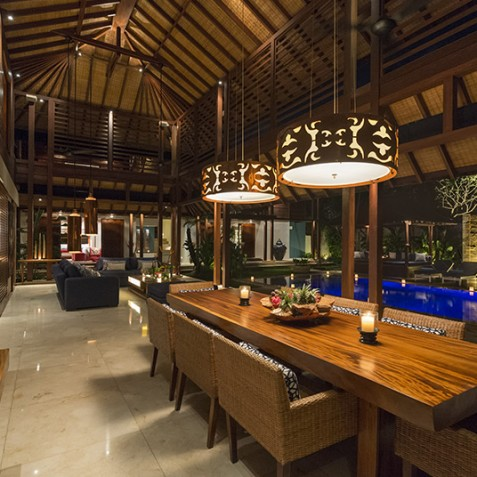 Villa Windu Sari - Dining Area at Night - Seminyak, Bali