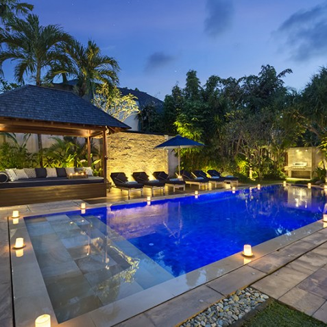 Villa Windu Sari - Pool and Bale at Night - Seminyak, Bali