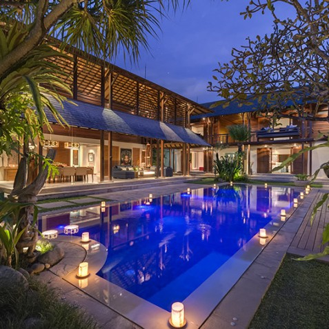 Villa Windu Sari - Pool and Villa at Night - Seminyak, Bali