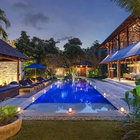 Villa Windu Sari - Pool at Night - Seminyak, Bali