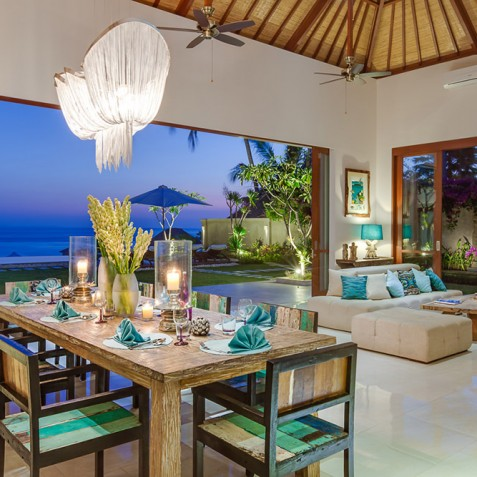 Tirta Nila Beach House, Candidasa, Bali - Dining at Dusk