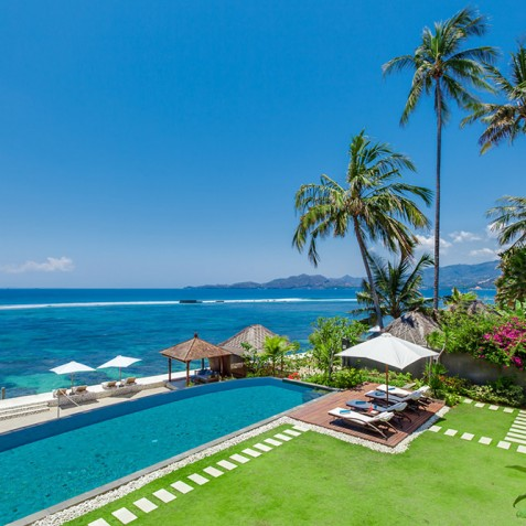 Tirta Nila Beach House, Candidasa, Bali - Gardens, Pool and Ocean
