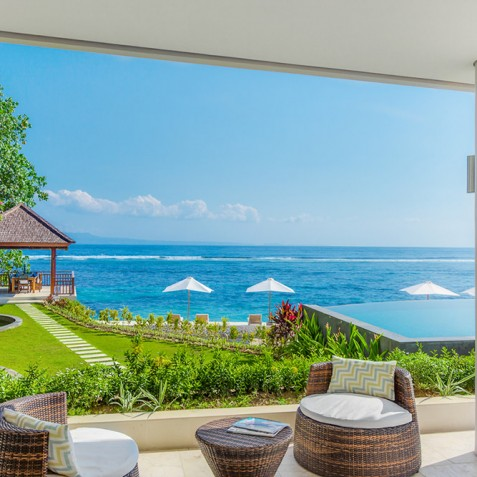 Tirta Nila Beach House, Candidasa, Bali - Oceanfront Bedroom Terrace