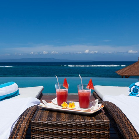 Tirta Nila Beach House, Candidasa, Bali - Pool Deck Ocean View