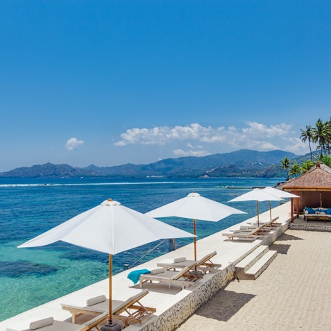 Tirta Nila Beach House, Candidasa, Bali - Private Beach and Ocean Deck