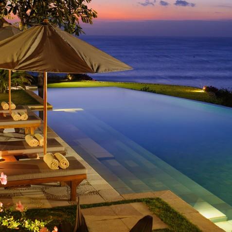 Villa Bayuh Sabbha - Poolside at Night - Uluwatu, Bali