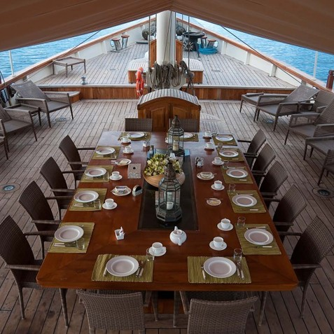 Deck - Dining Table - Mutiara Laut - Luxury Yacht Charter Indonesia