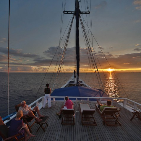 Sunset On Board - Ombak Putih Cruises - Sailing Adventures - Indonesia