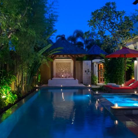 Villa Kalimaya IV - Bale and Pool at Night - Seminyak, Bali