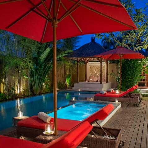 Villa Kalimaya IV - Pool at Night - Seminyak, Bali
