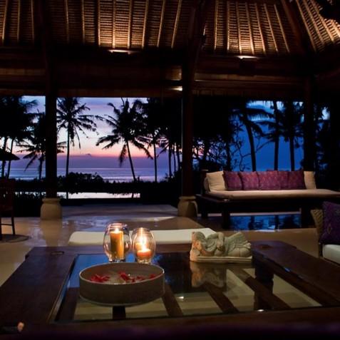 Villa Arika Bali - Open Air Living Area in Evening - Canggu, Bali