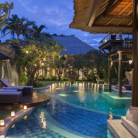 Villa Asta Bali - Pool from Bale at Night - Seminyak, Bali