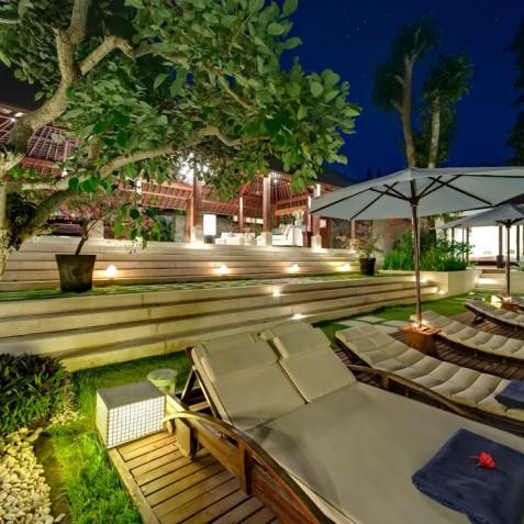 Villa Bunga Pangi Bali - Pool Deck at Night - Canggu, Bali