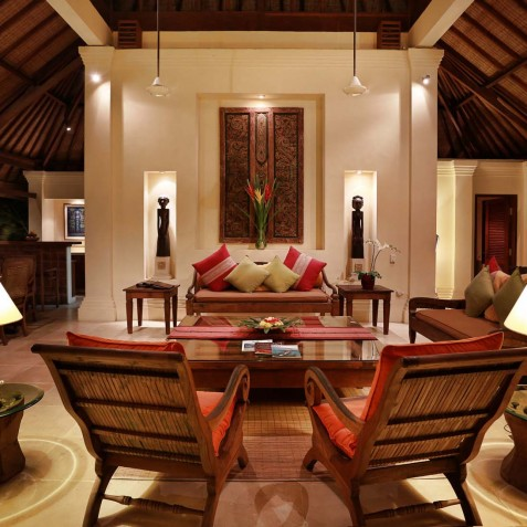 Villa Bunga Wangi Bali - Living Area at Night - Canggu, Bali