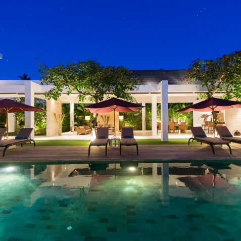 Villa Casa Brio - Living Spaces at Night - Seminyak, Bali